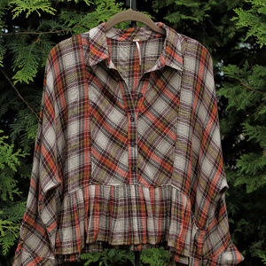 Free People Plaid Flannel Oversized CroppedTop
